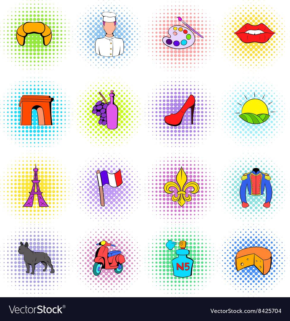 Paris set icons comics style