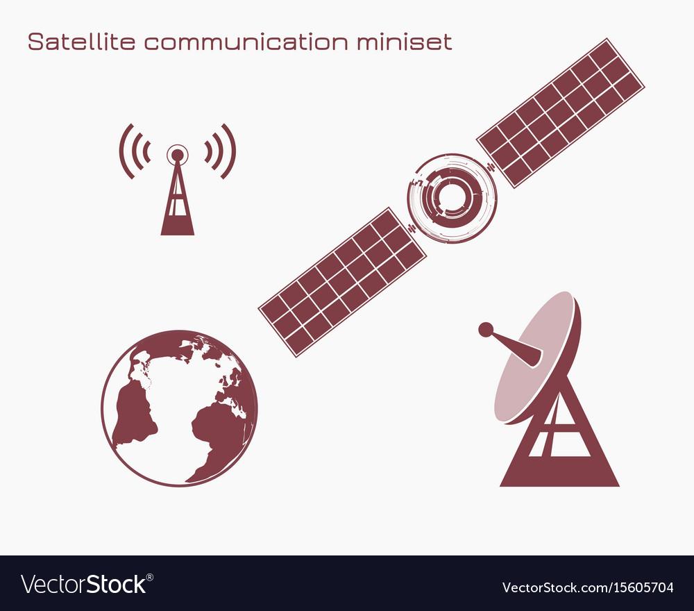 Satellite communication miniset vector image