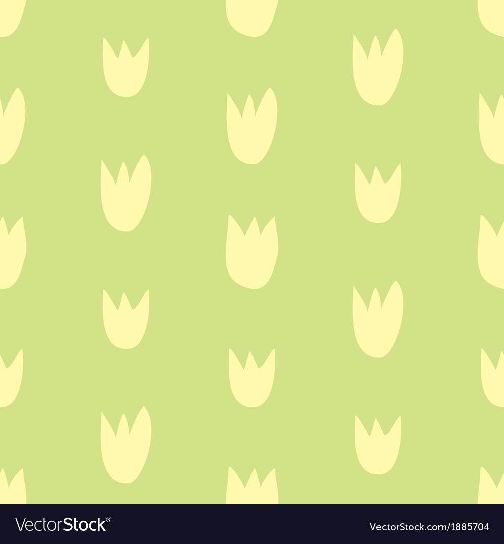 Seamless floral yellow and green tulips background vector image