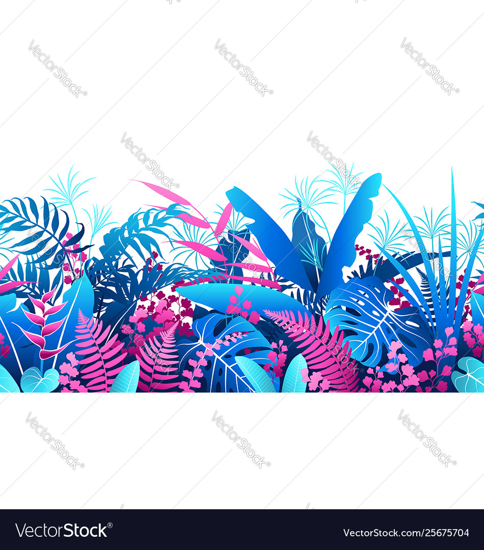 Tropical plants colorful seamless pattern