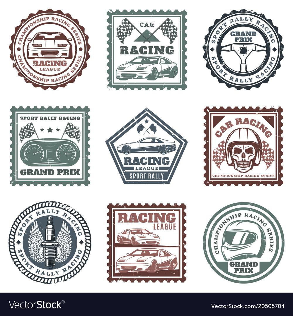 Vintage car sport racing stamps set