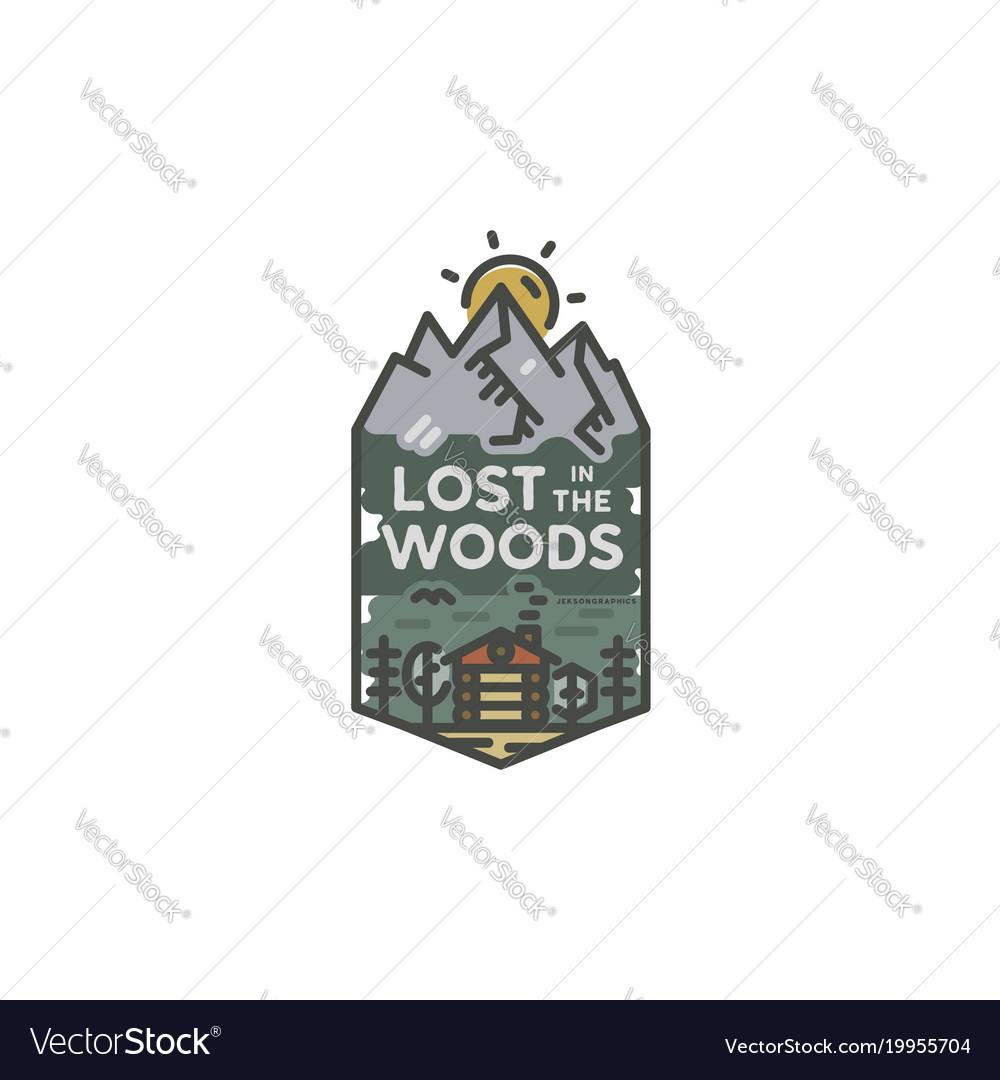 Vintage hand drawn travel badge camping label