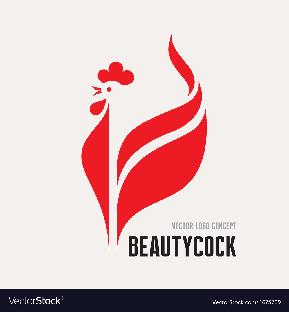 Beauty cock - rooster logo concept