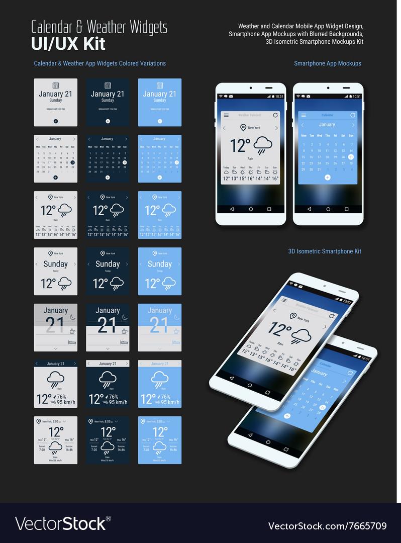 Calendar and Weather Mobile App Widgets UI Designs