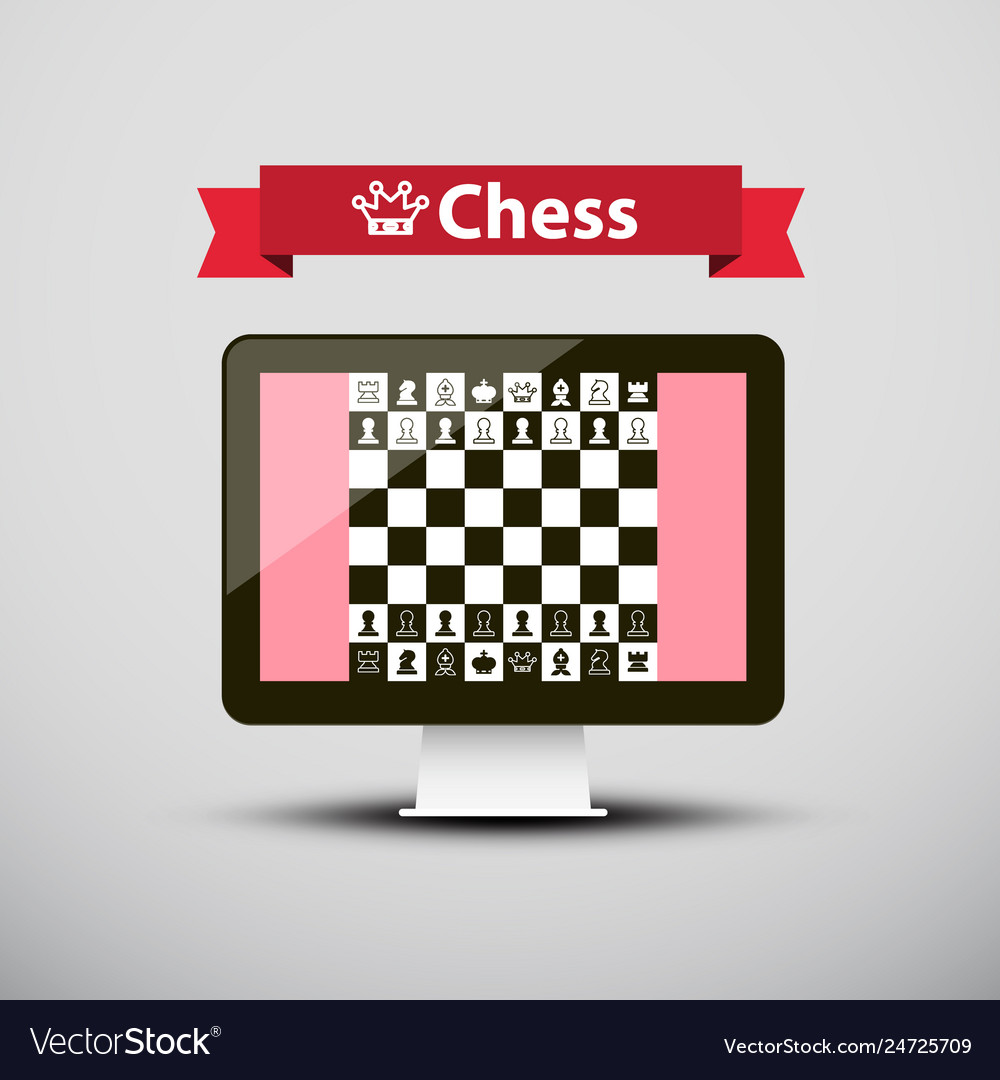 Chess - strategy game on computer screen design
