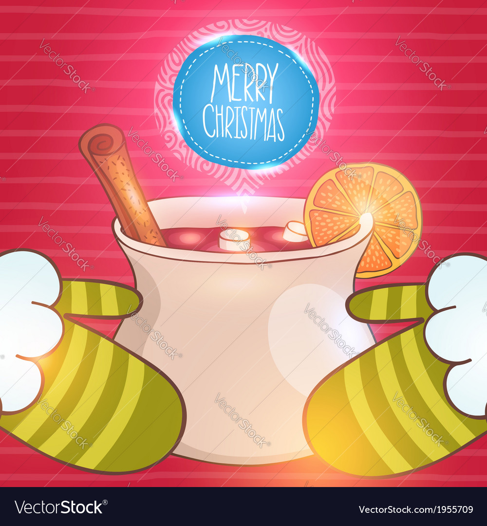 Christmas card with mulled wine and Santa vector image
