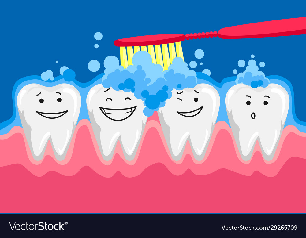 Cute happy smiling tooth with toothbrush and