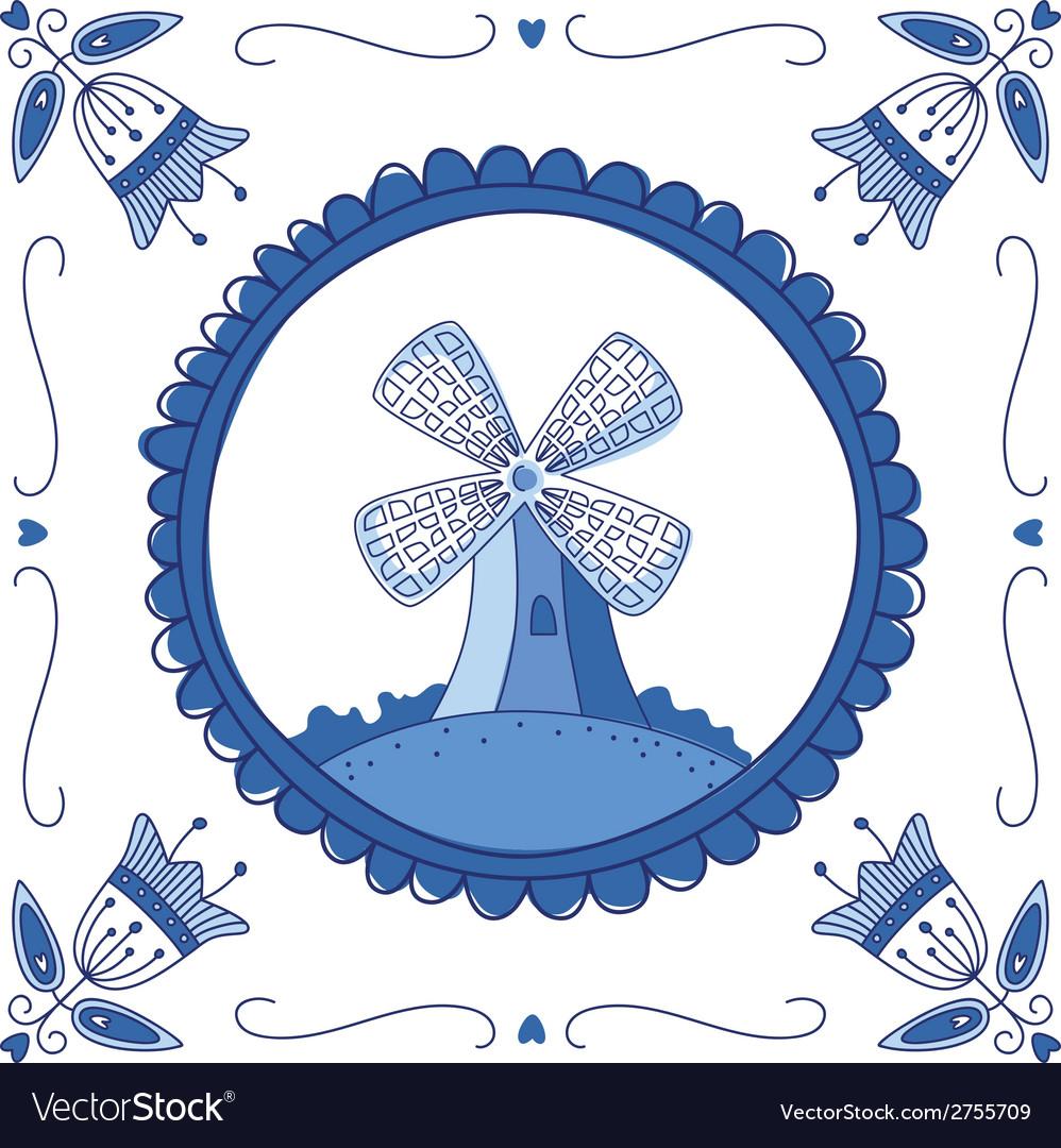 Delft blue mill