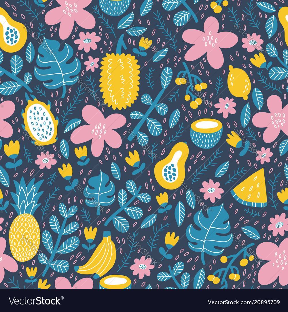 Exotic tropical fruits pattern