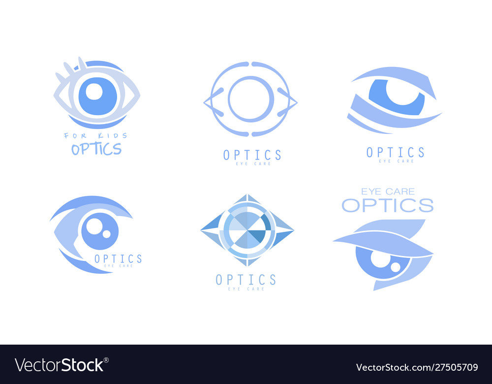 Eye care optics logos collection clinic or