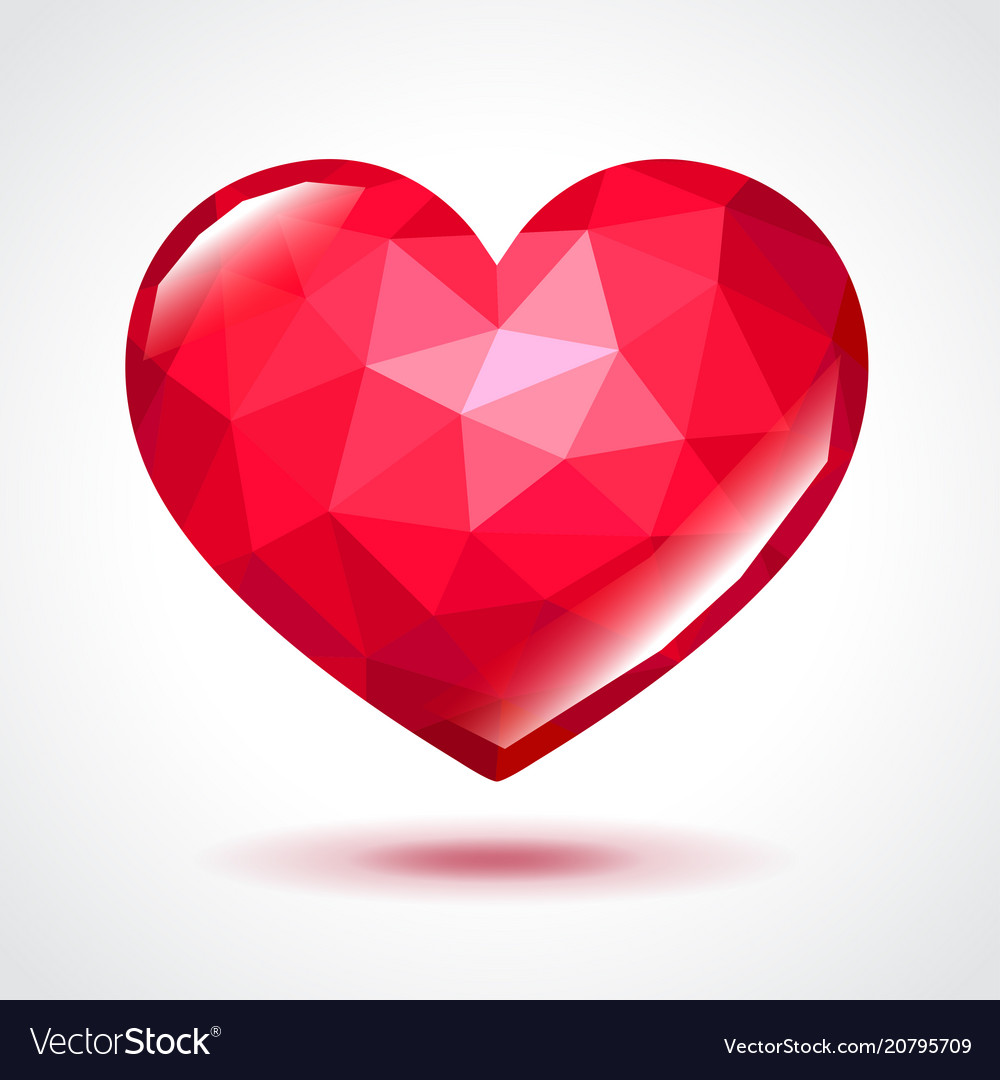 Low poly heart isolated