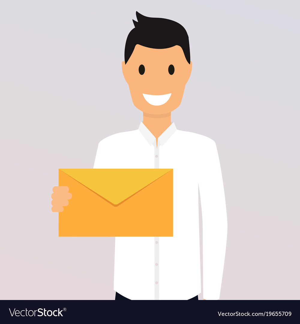 Man holding a mail manager or businessman shows