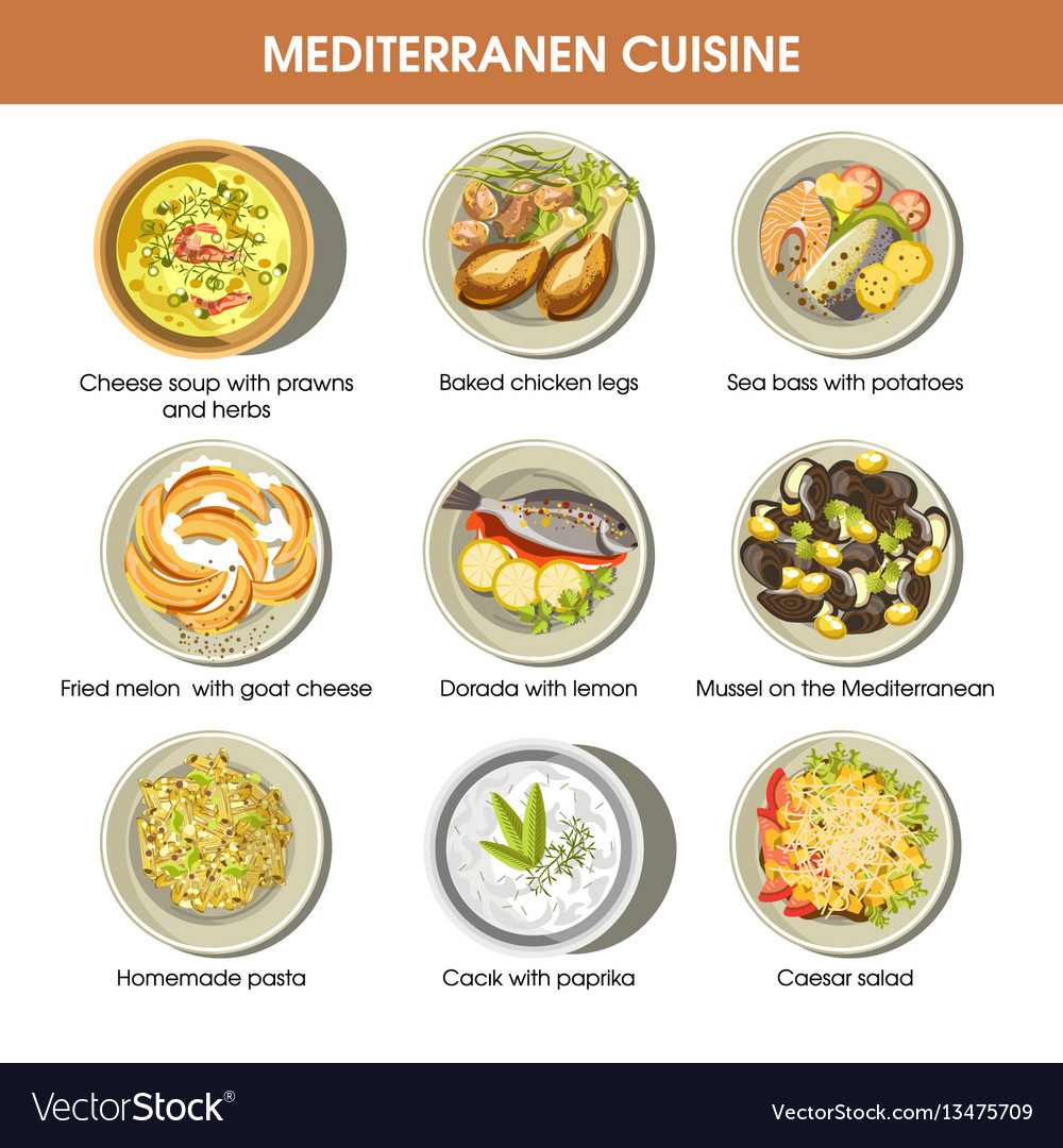 Mediterranean cuisine dishes icons set for