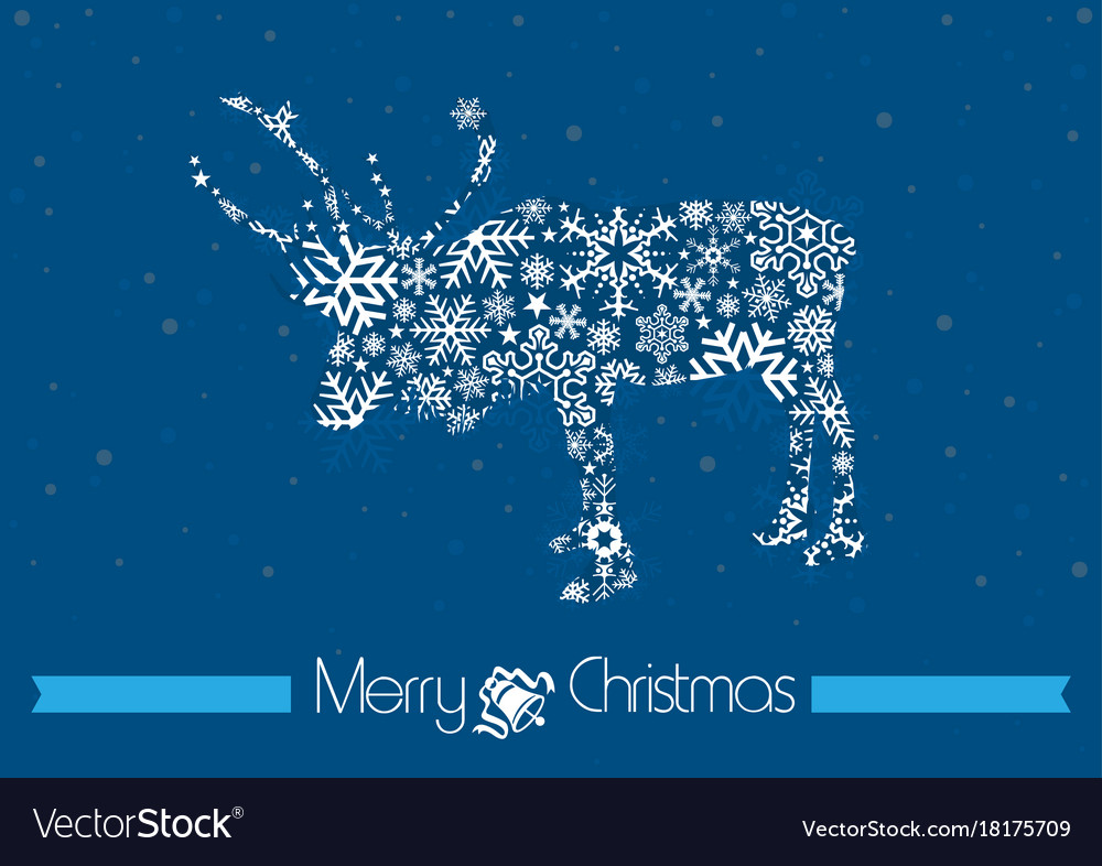Merry christmas background with rain deer