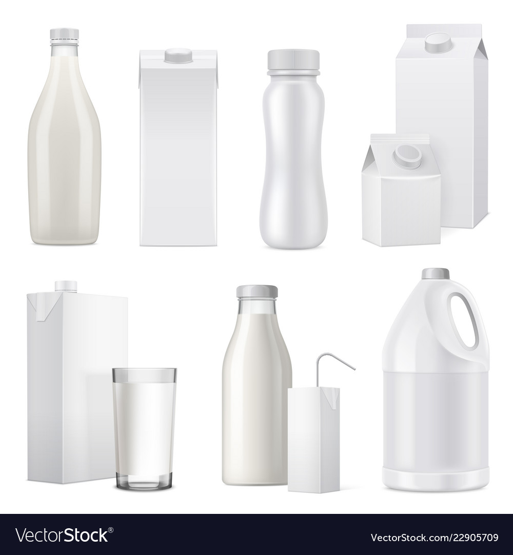 Realistic milk bottle package icon set
