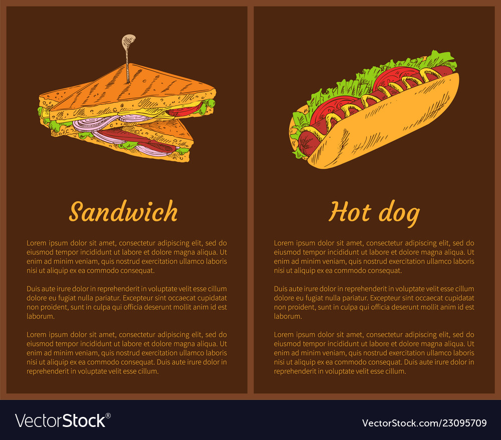 Sandwich And Hot Dog Posters Royalty Free Vector Image