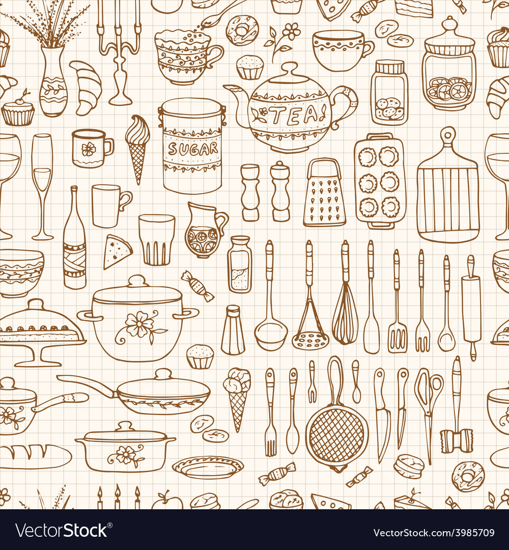 Set of hand drawn cookware