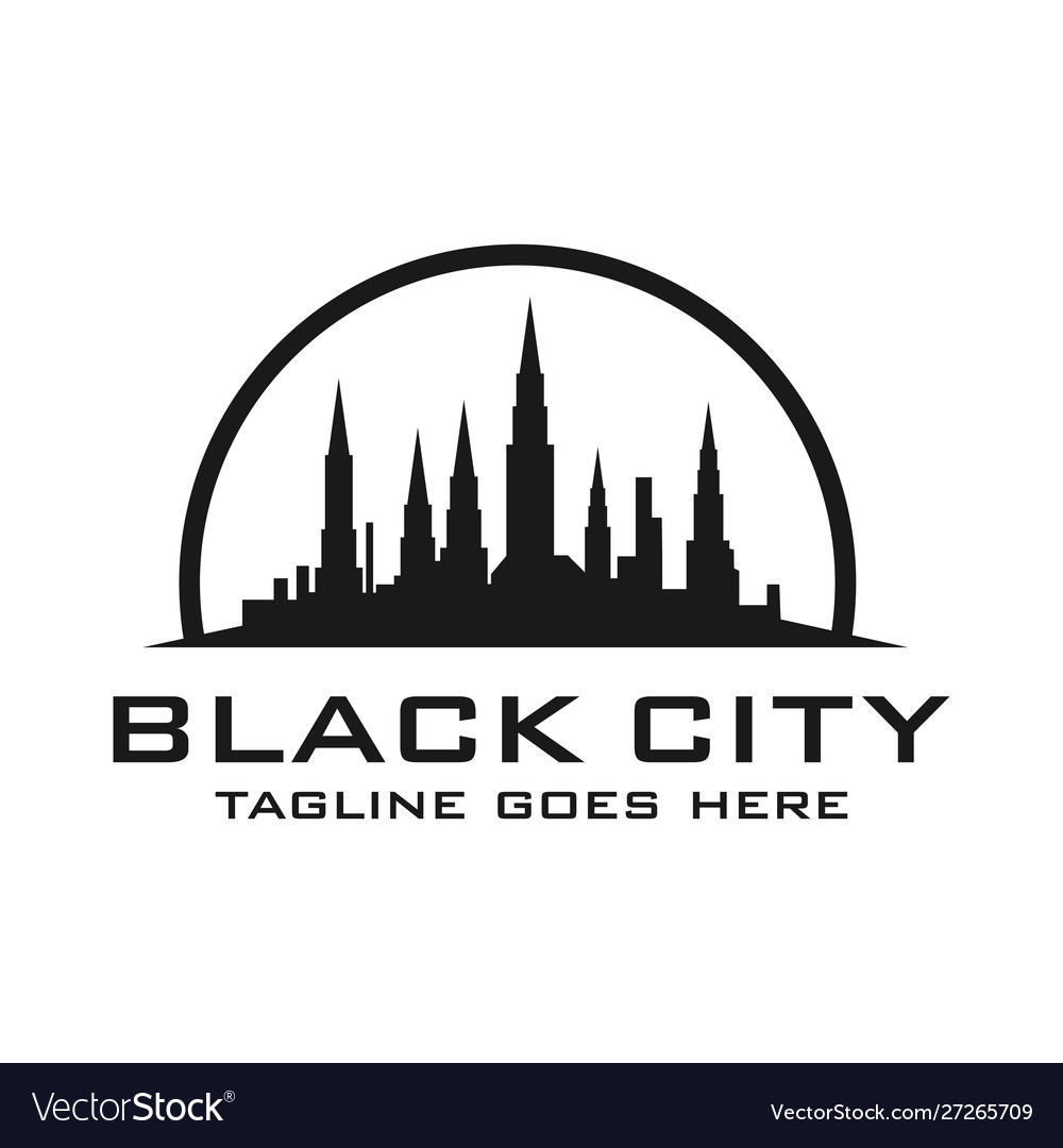 Silhouette logo views city buildings