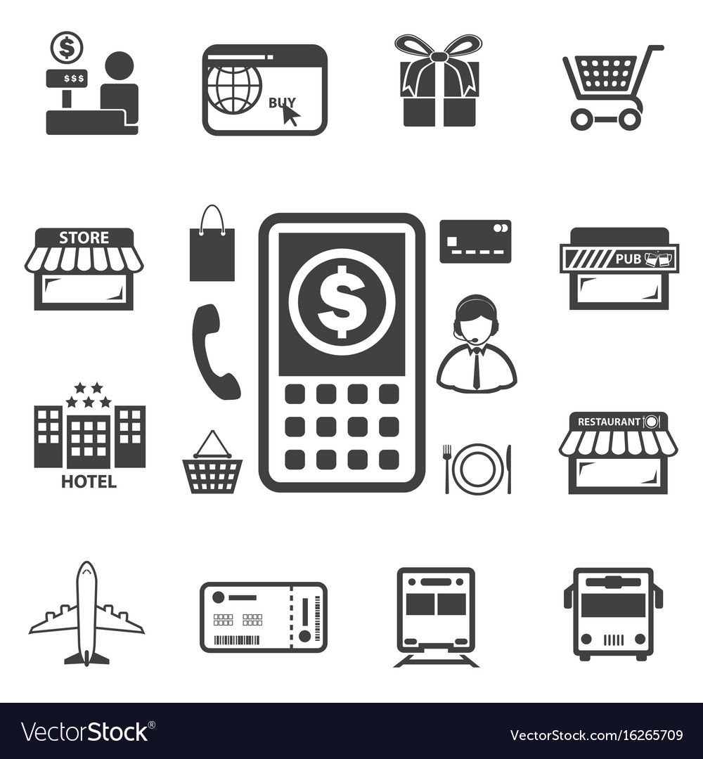 Smart money and mobile banking icons set