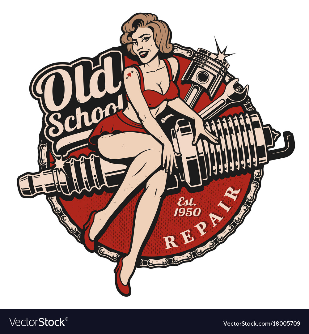 Create A Rockabilly Poster With Vector Set 22: Spark Plug Pin Up Girl Color Version Royalty Free Vector