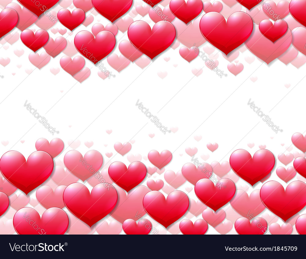 Valentines Day card with scattered purple hearts vector image