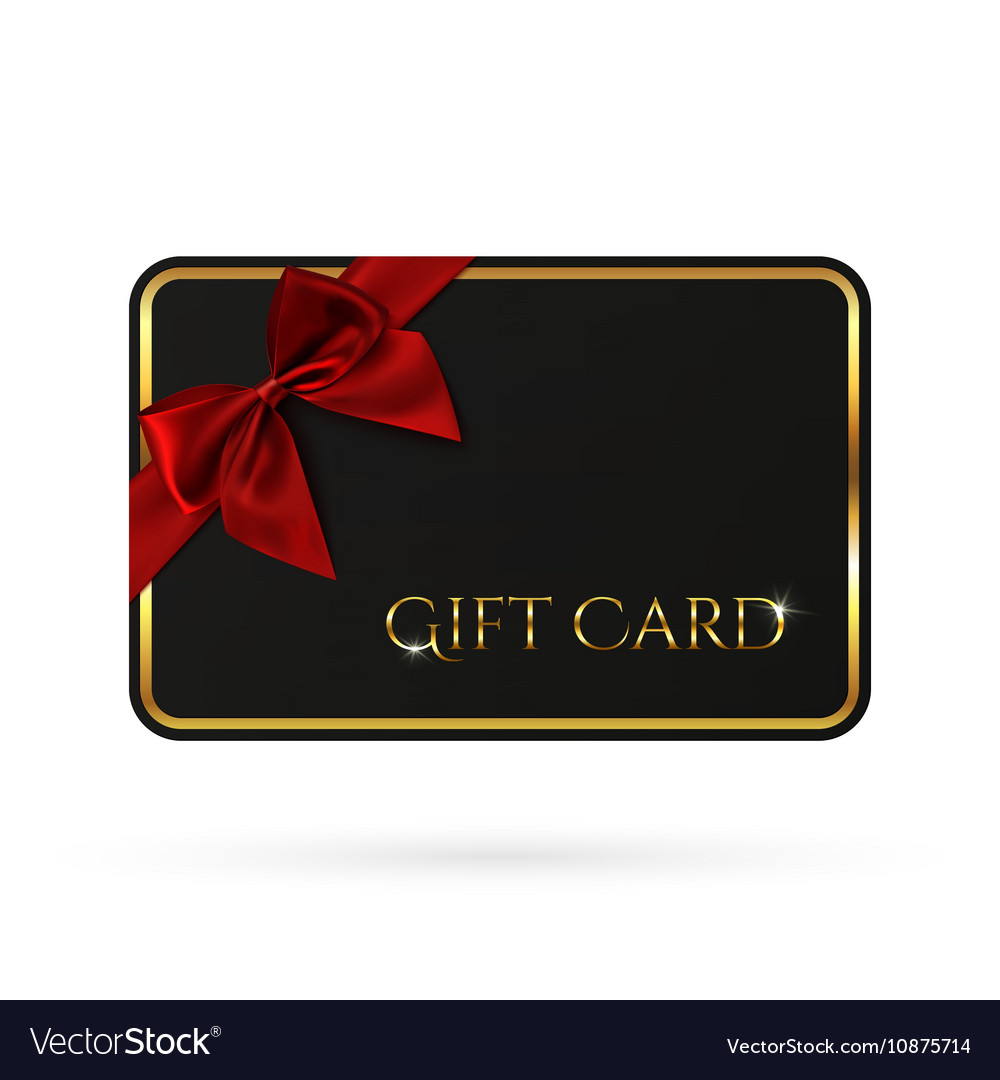 Gift Card Template | Black Gift Card Template With Red Ribbon And A Bow