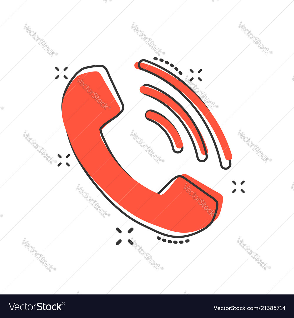 Cartoon phone icon in comic style contact support