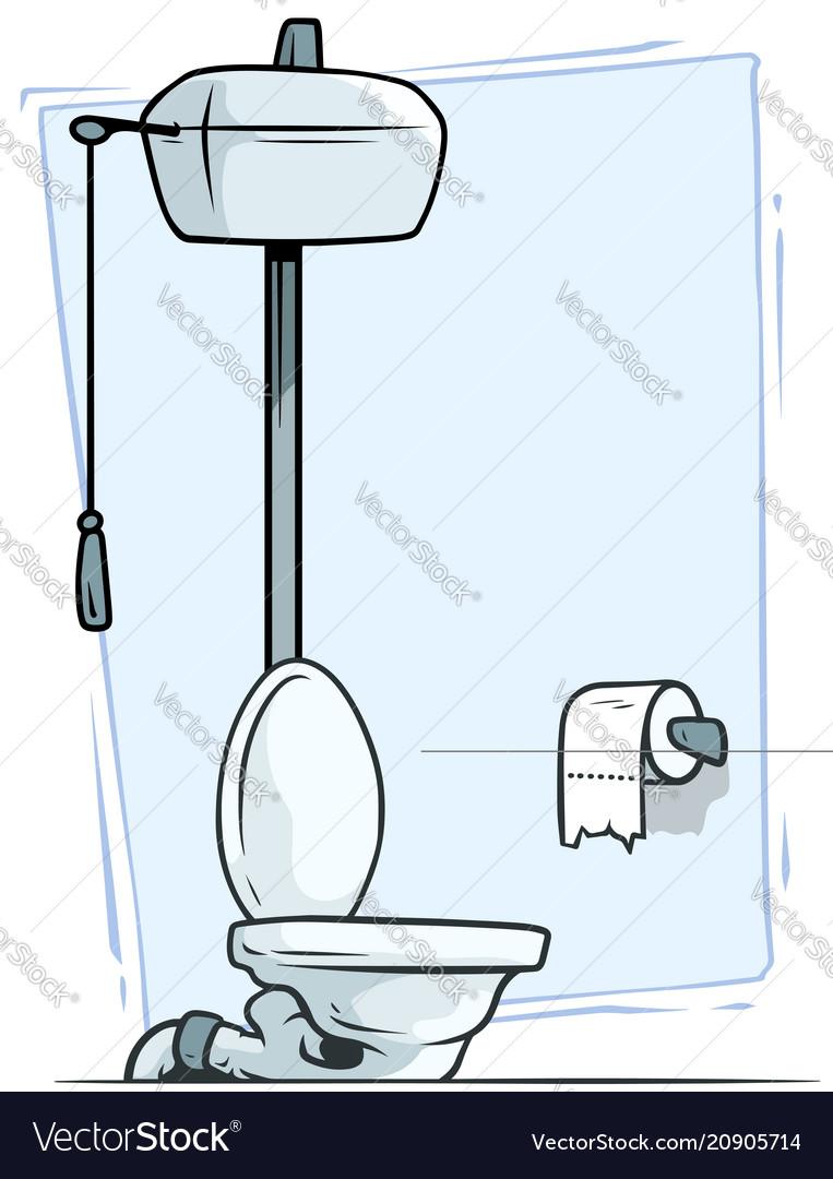 Retro Wc Pot.Cartoon Retro Toilet With Toilet Paper Icon