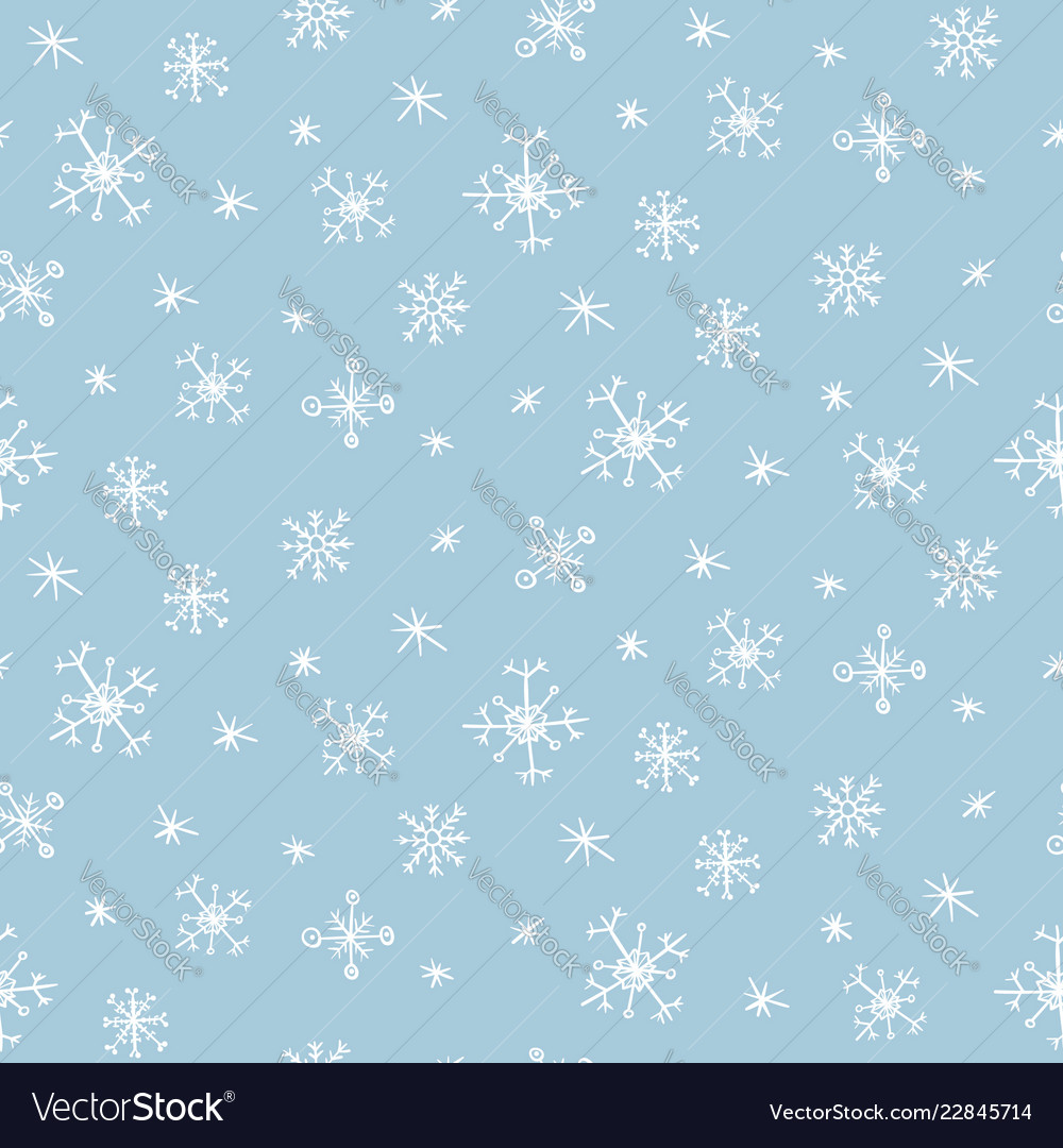 Cute pattern with hand drawn snowflakes