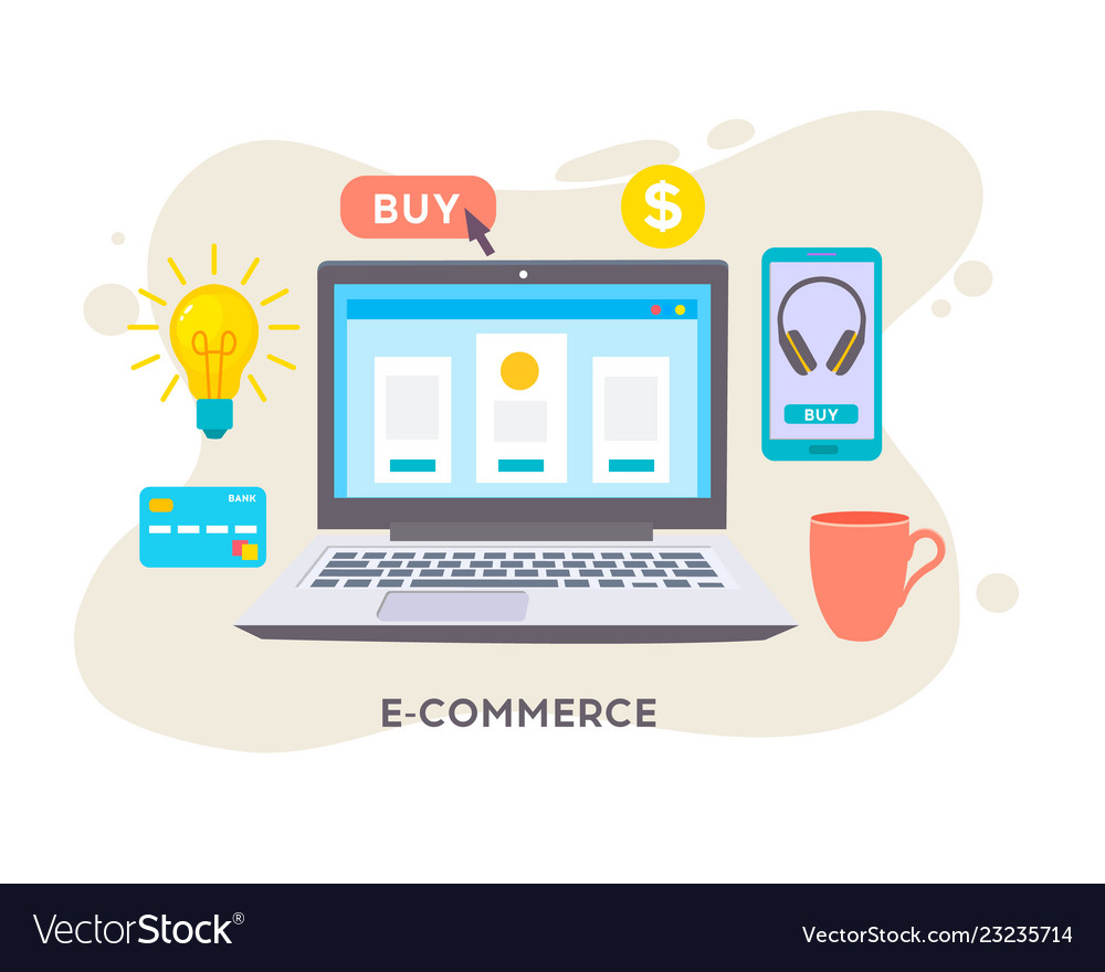 E-commerse online store e-commerce strategy flat