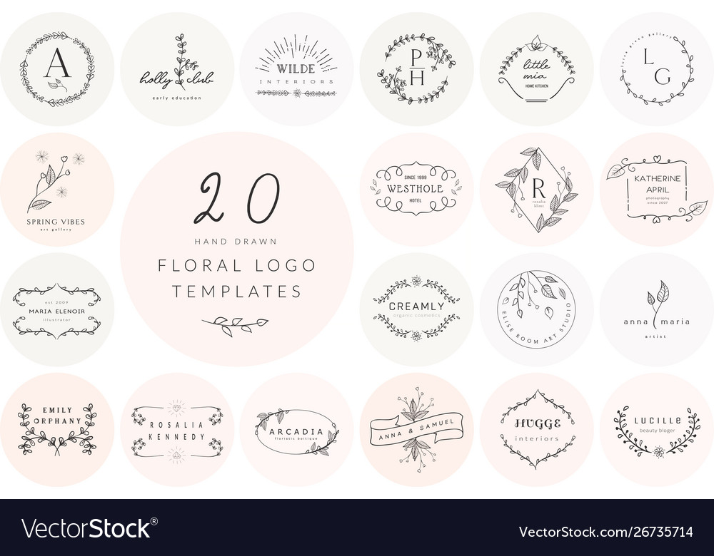 Hand drawn floral logo templates collection
