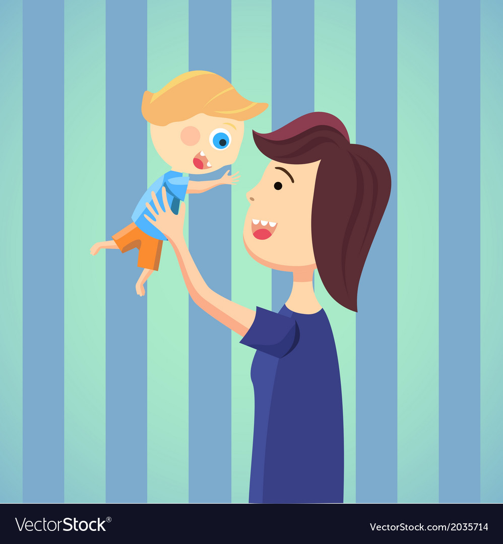 Happy mom with son cartoon vector image