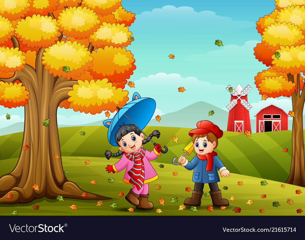 Kids Playing In Farm Landscape At Autumn Vector Image