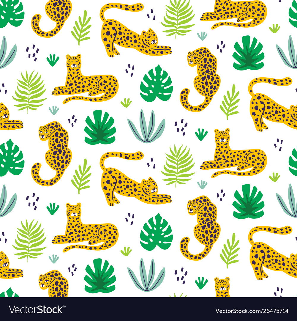 Leopard and tropical leaves jungle pattern