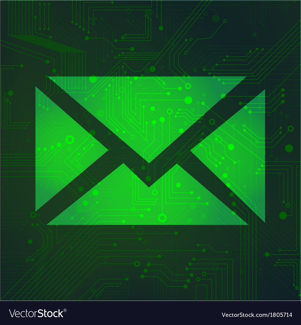 Message circuit over green background vector image
