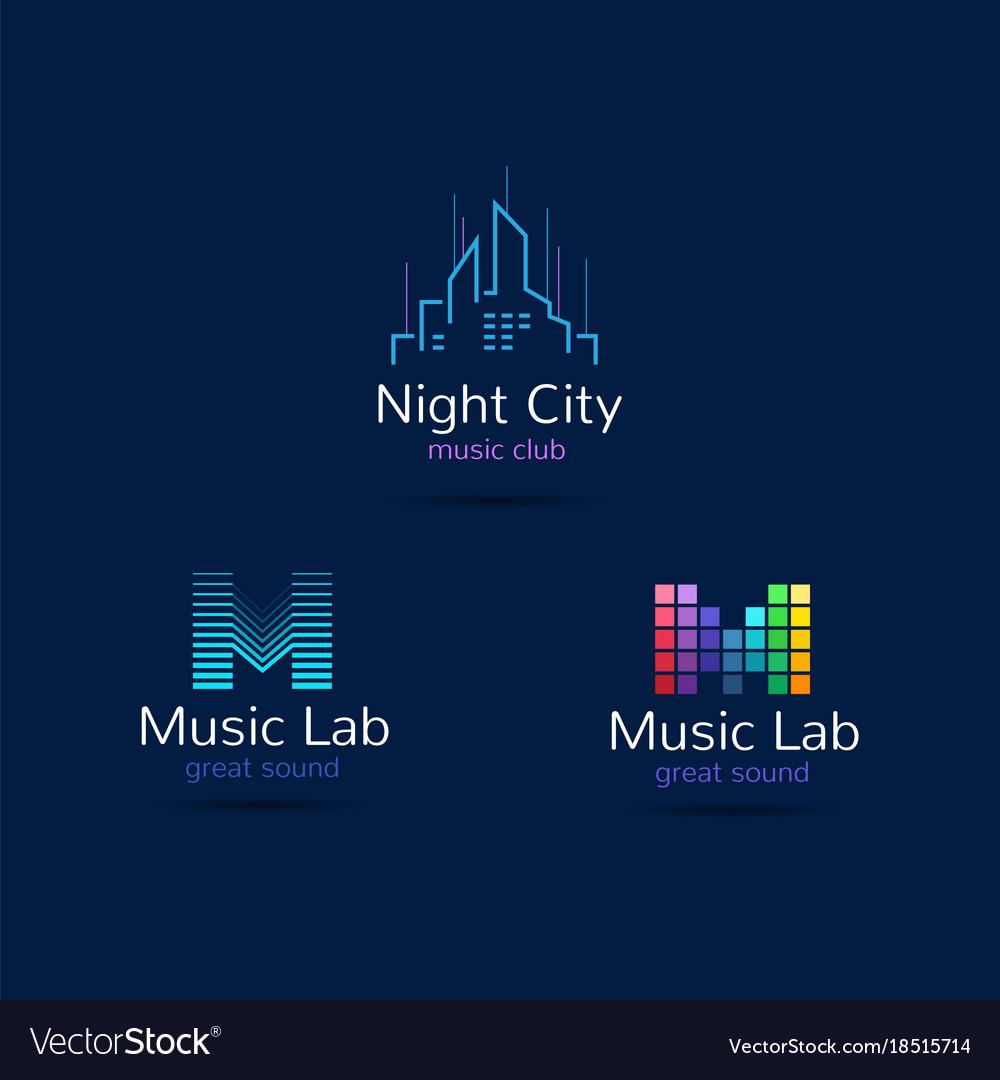 Music club logo templates creative music signs