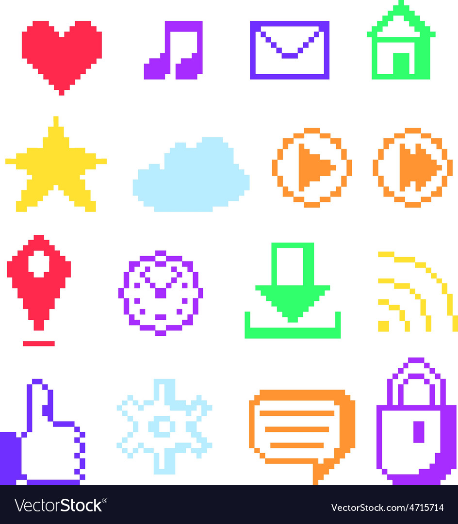 Pixel icons for social networks