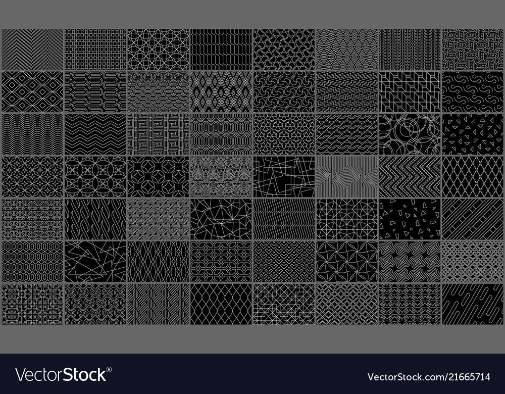 Set of linear seamless geometric pattern
