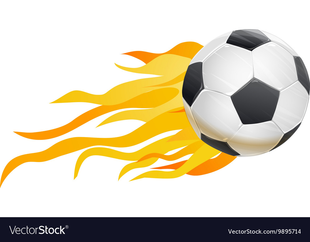 Soccer ball and fire flames vector image