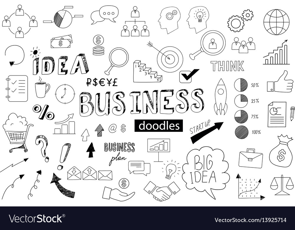 Unique collection of hand drawn bussines doodles vector image