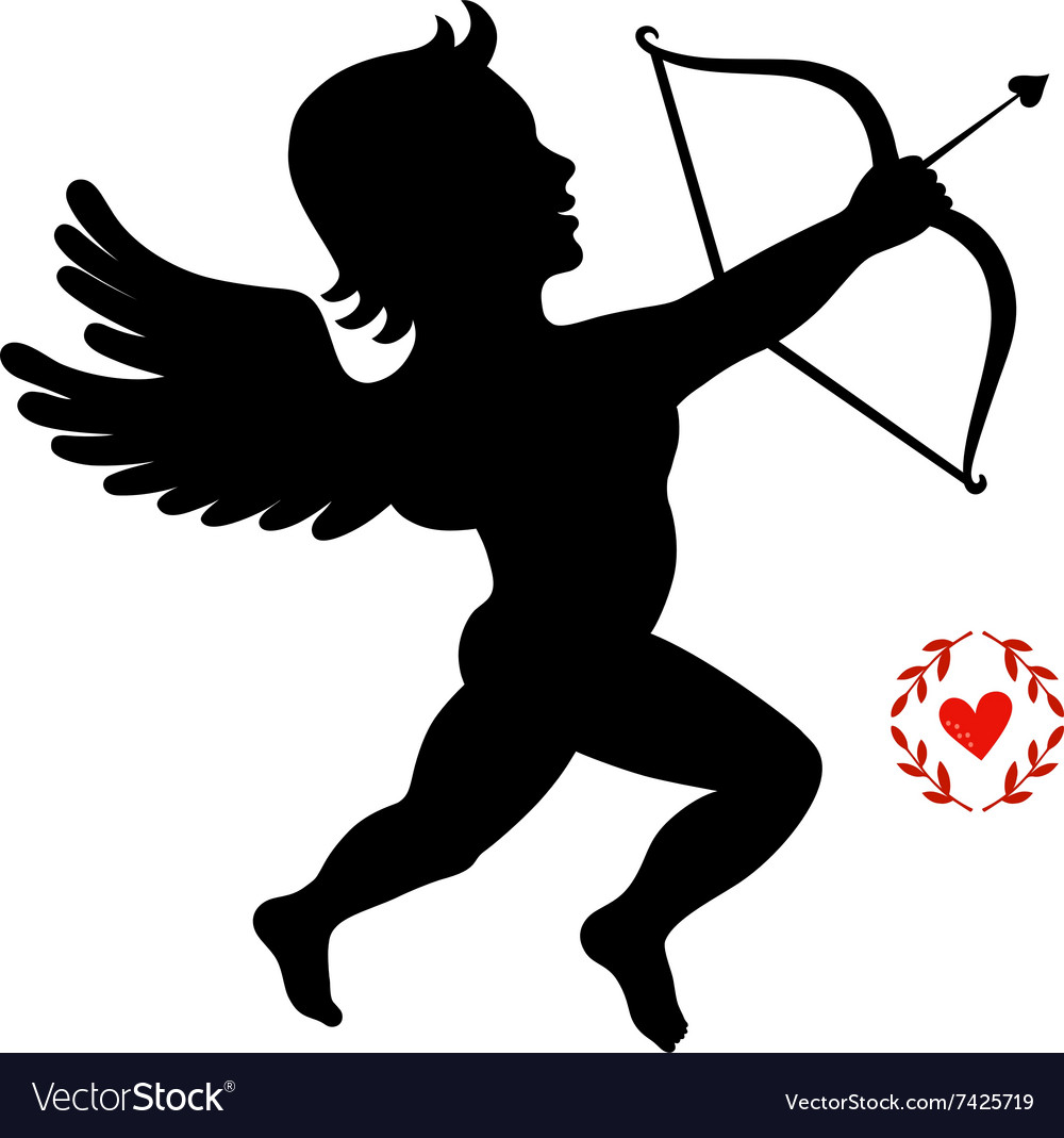 Cupid takes aim isolated on white