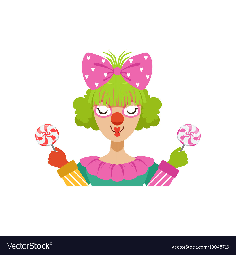 Funny female circus clown holding lollipops