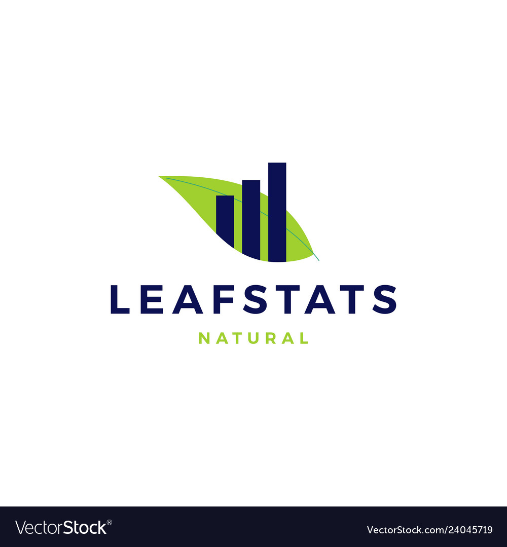 Leaf stats statistics chart sprout logo icon