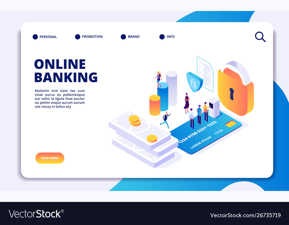 Online banking isometric landing page