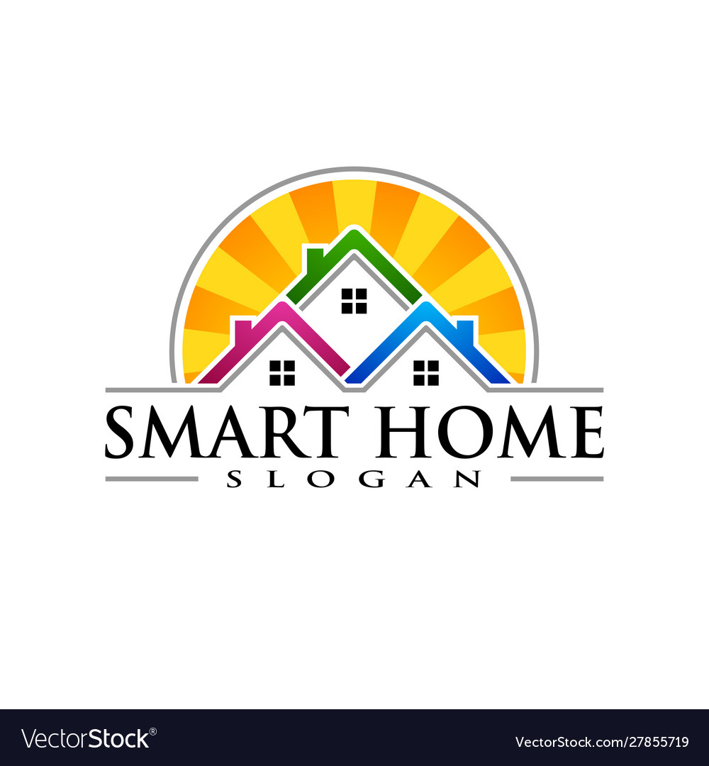 Real estate logo with abstract property and home
