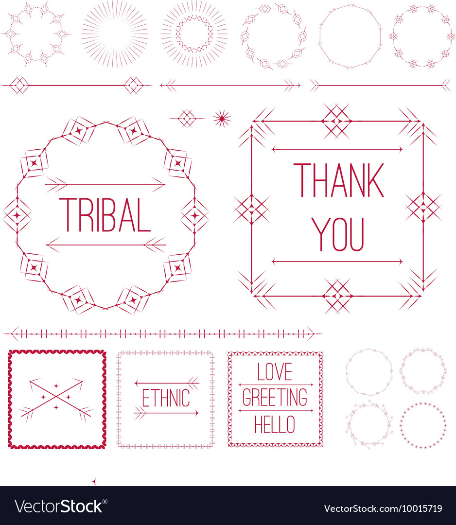 Set of Ethnic ornamental decor elements vector image