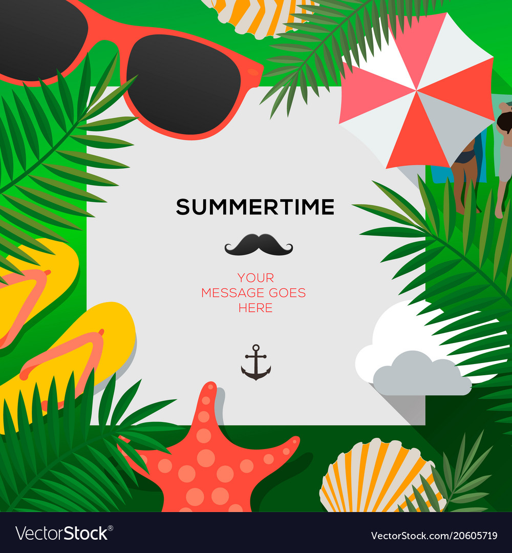 Summertime holiday and summer camp poster