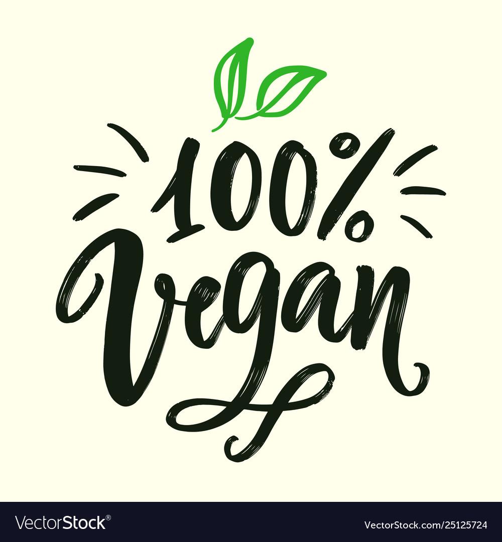 100 percent vegan sign organic green logo