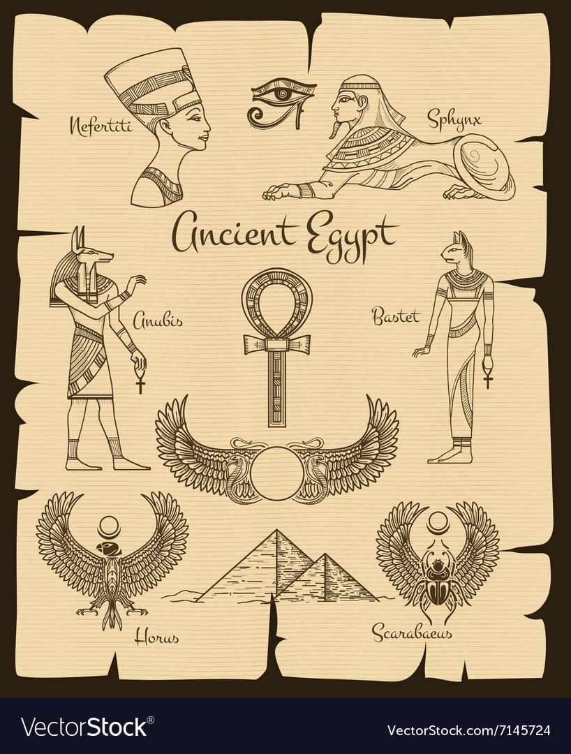 Ancient Egypt Symbols Royalty Free Vector Image