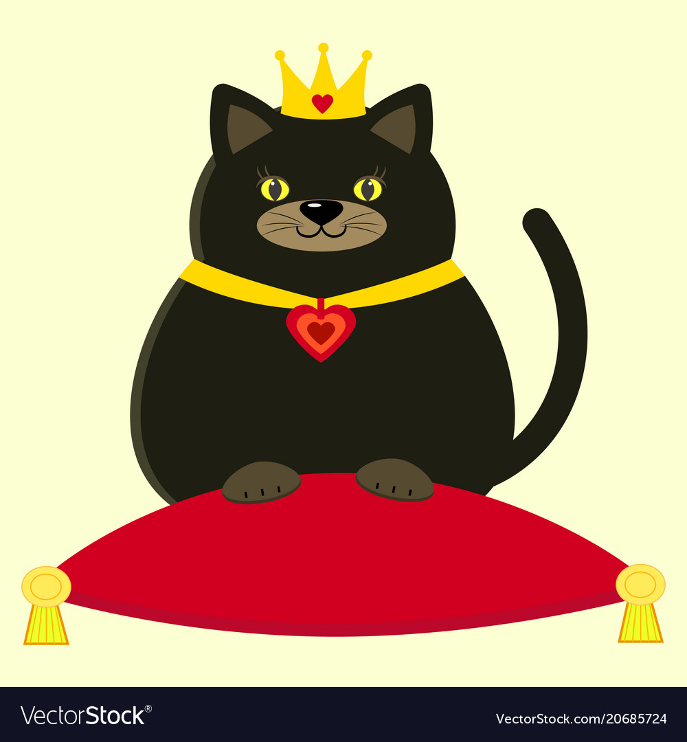black cat in the crown on the pillow royalty free vector rh vectorstock com vector cattails vector catheter